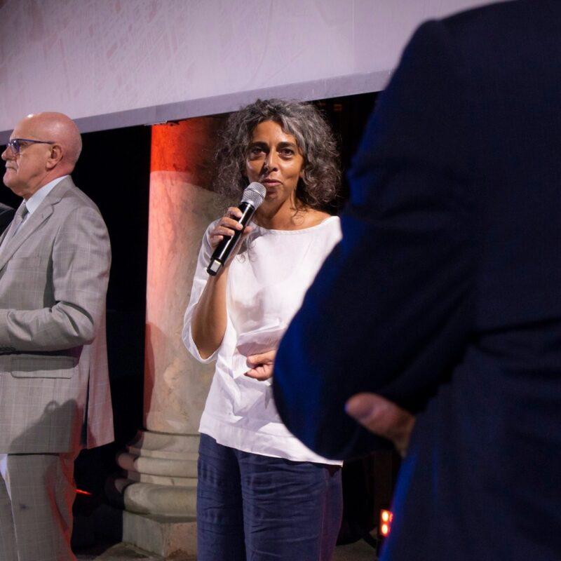 """Stefania Mattioli (responsabile della comunicazione Ospedale Maggiore di Cremona) durante la presentazione del docufilm """"A Viso Aperto"""""""