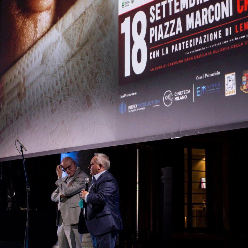 """Giuseppe Rossi (Direttore Generale dell'Ospedale di Cremona) e Stefano Bruno Galli (Assessore alla Cultura, regione Lombardia) durante la proiezione del docufilm """"A Viso Aperto"""""""