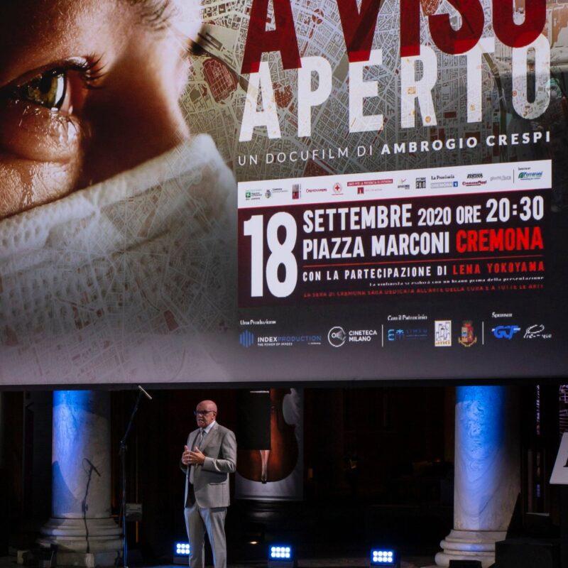 """Giuseppe Rossi (Direttore Generale dell'Ospedale di Cremona) durante la presentazione del docufilm """"A Viso Aperto"""""""