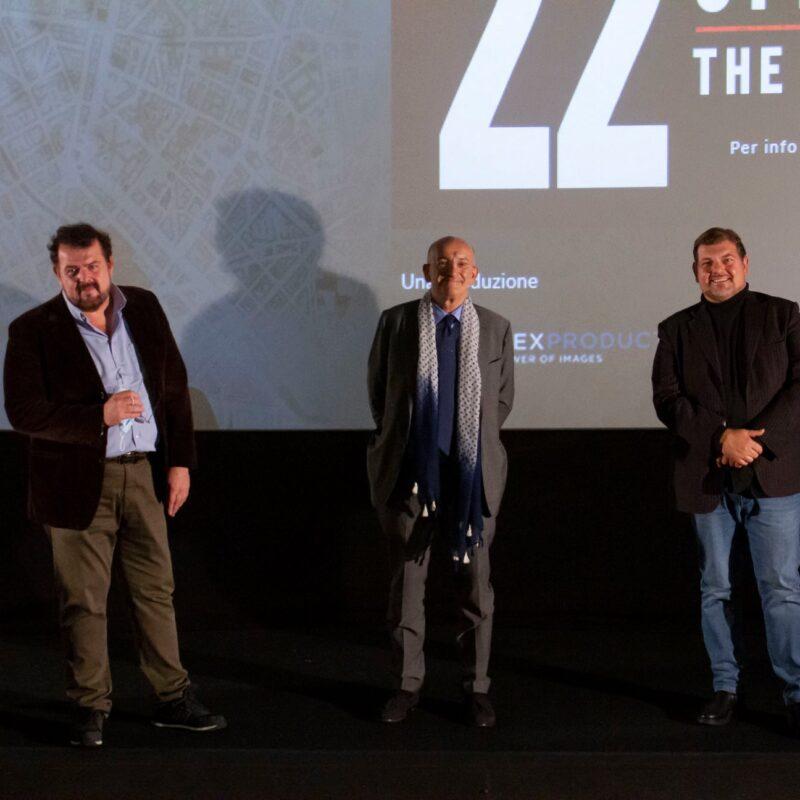 """Luigi Crespi (autore), Francesco Paolo Sisto (musicista) e Ambrogio Crespi (regista) durante la presentazione del docufilm """"A Viso Aperto"""""""