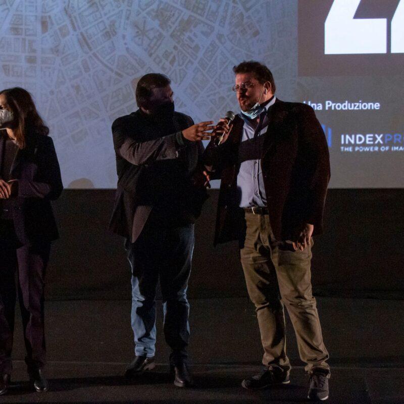 """Natascia Turato (autrice), Ambrogio Crespi (regista) e Luigi Crespi (autore) durante la presentazione del docufilm """"A Viso Aperto"""""""