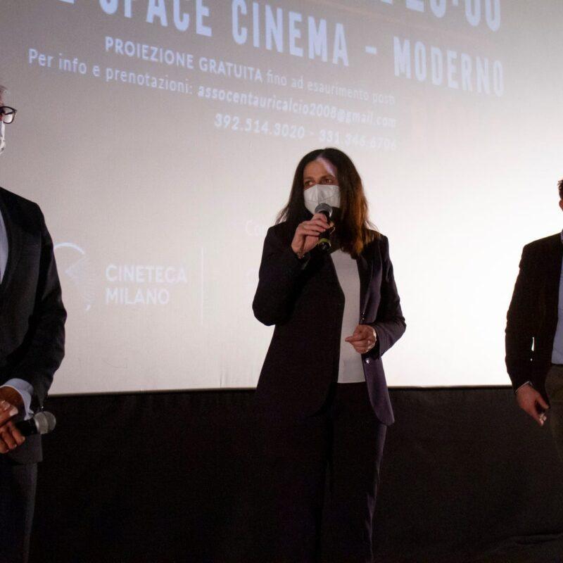 """Alessandro Grandinetti (Partner PwC Italia), Natascia Turato (autrice) e Luigi Crespi (autore) durante la presentazione del docufilm """"A Viso Aperto"""""""