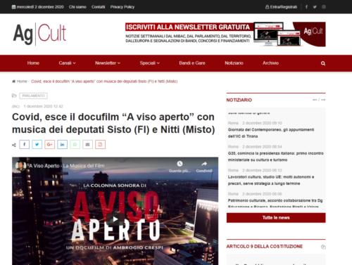 """AgCult: Covid, esce il docufilm """"A viso aperto"""" con musica dei deputati Sisto (FI) e Nitti (Misto)"""