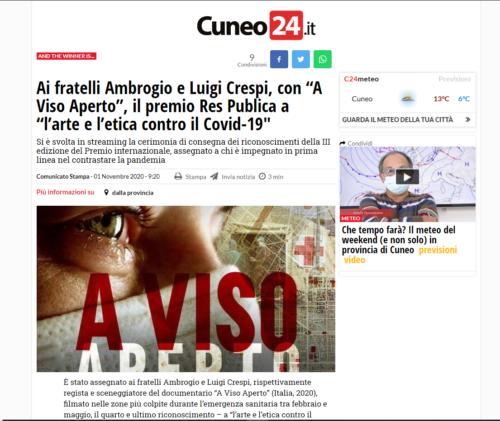 """Cuneo 24: Ai fratelli Ambrogio e Luigi Crespi, con """"A Viso Aperto"""", il premio Res Publica a """"l'arte e l'etica contro il Covid-19″"""