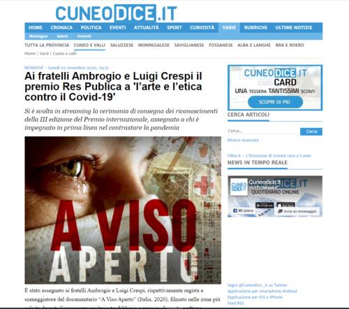 Cuneo Dice: Ai fratelli Ambrogio e Luigi Crespi il premio Res Publica a 'l'arte e l'etica contro il Covid-19'
