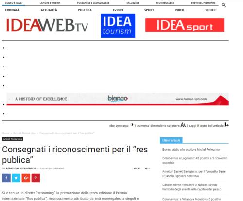 """Idea Web Tv: Consegnati i riconoscimenti per il """"res publica"""""""