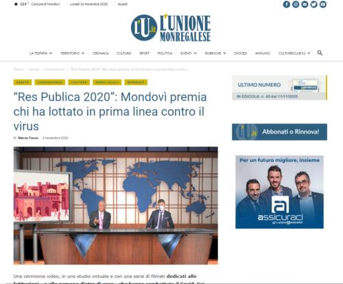 """L'Unione Monregalese: """"Res Publica 2020"""": Mondovì premia chi ha lottato in prima linea contro il virus"""