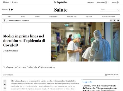 La Repubblica: Medici in prima linea nel docufilm sull'epidemia di Covid-19