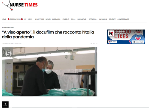 """Nurse Times: """"A viso aperto"""", il docufilm che racconta l'Italia della pandemia"""
